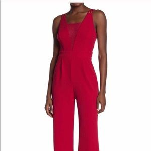 BEBE Strappy Mesh Jumpsuit Red Sz 12 NWT